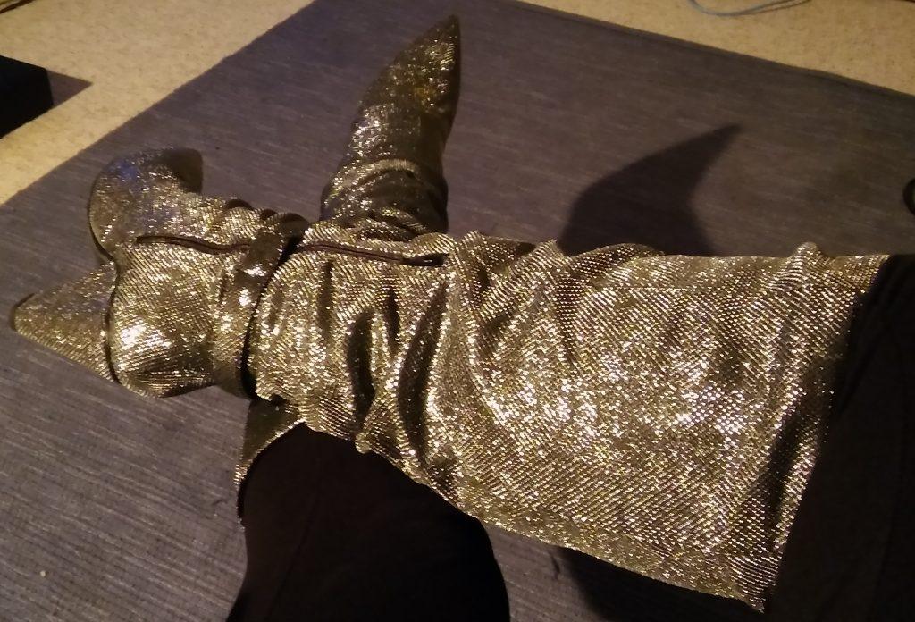 Glittery knee high boots