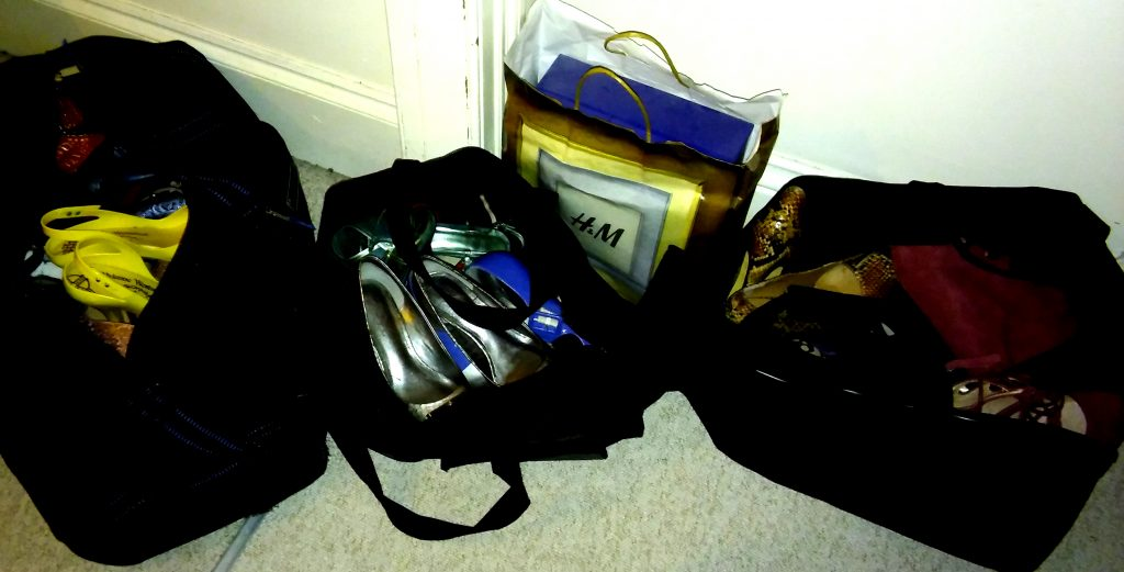 Holdalls full of shoes