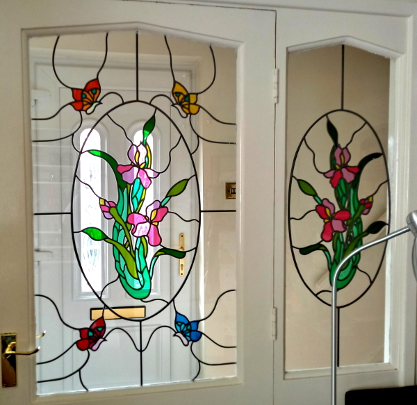 '80s art deco stained glass windows