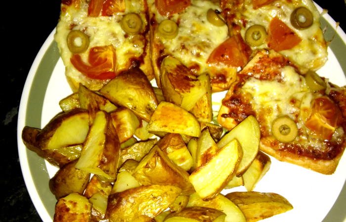 Cheat's pizza and chips