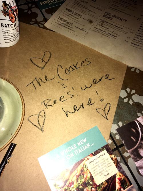 Restaurant table scribblings