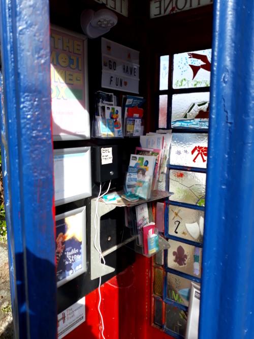 Blue phone box interior