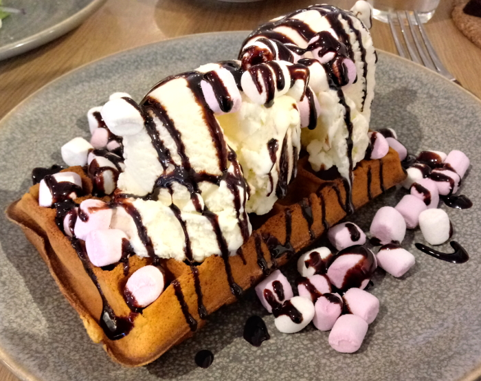 Waffles with ice cream and marshmallows