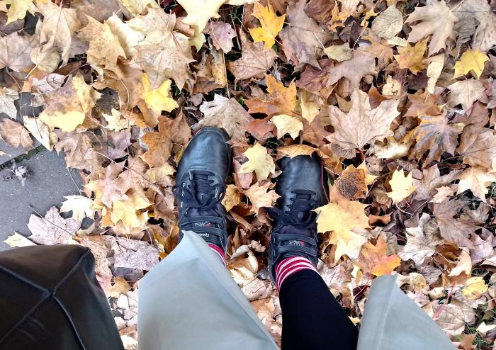 Walking through autumn leaves