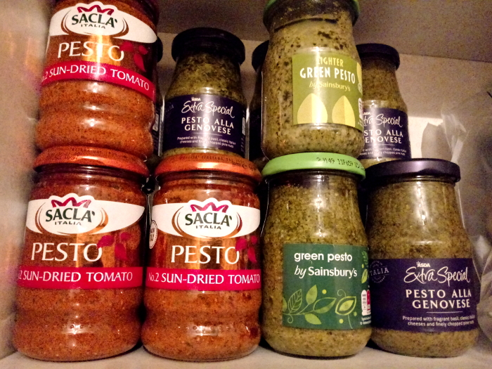 Jars of pesto