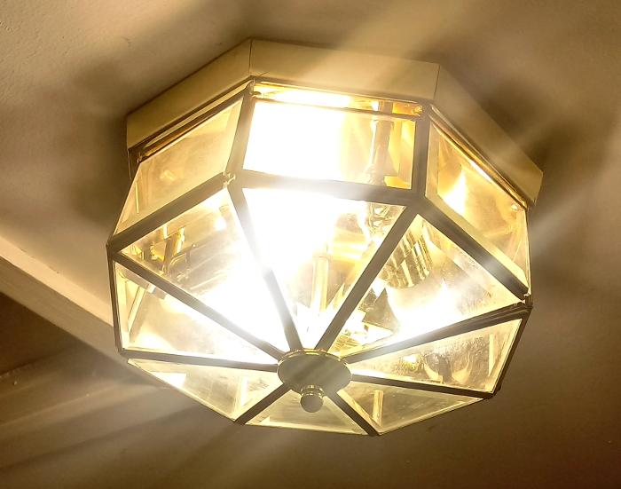 1980s brass light fixture