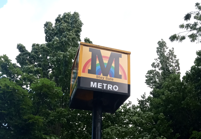 Rainbow Metro sign