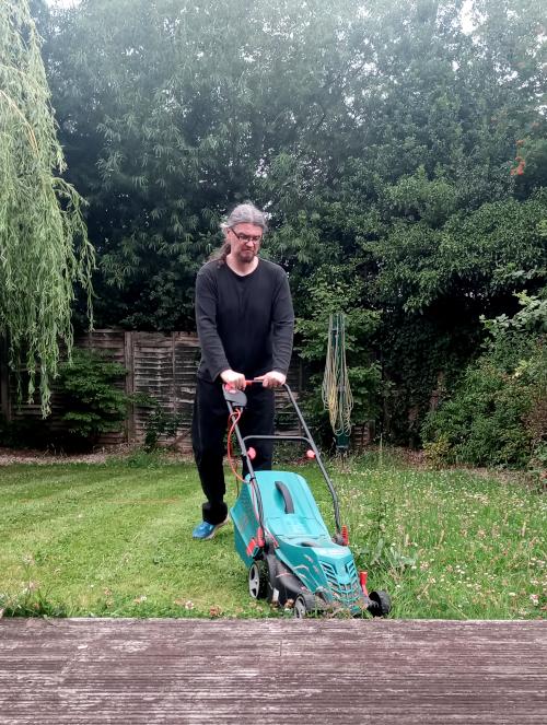 Geth mowing the lawn