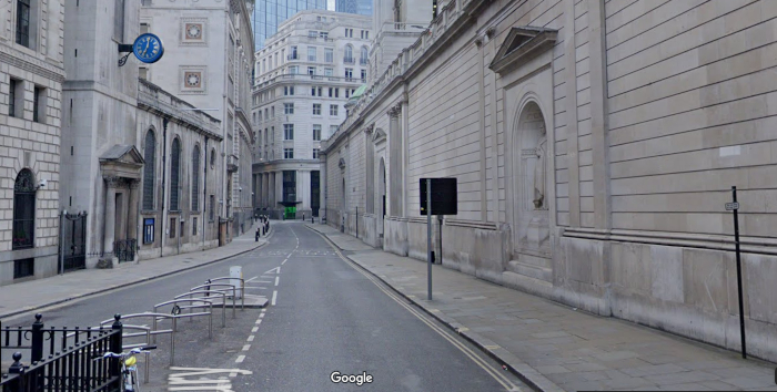 Lothbury, Google Street View, 2019
