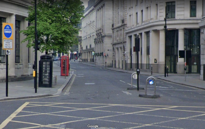 Phone boxes on Lothbury (Google Street View, 2019).