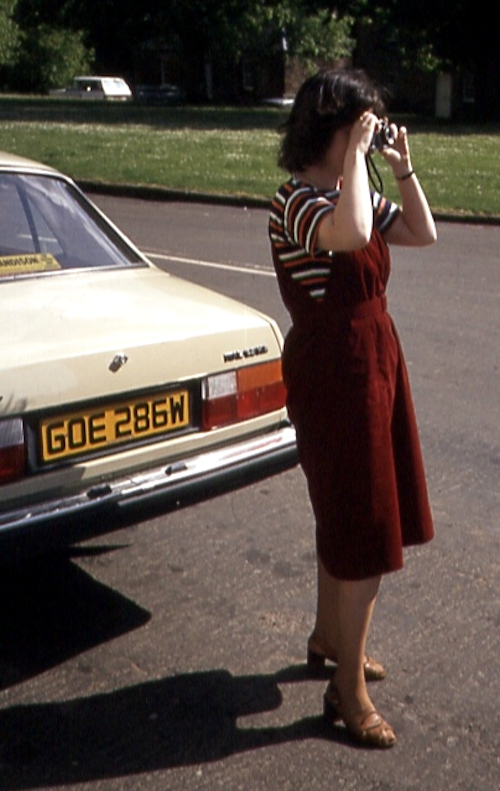 My mum and a Morris Ital, 1984
